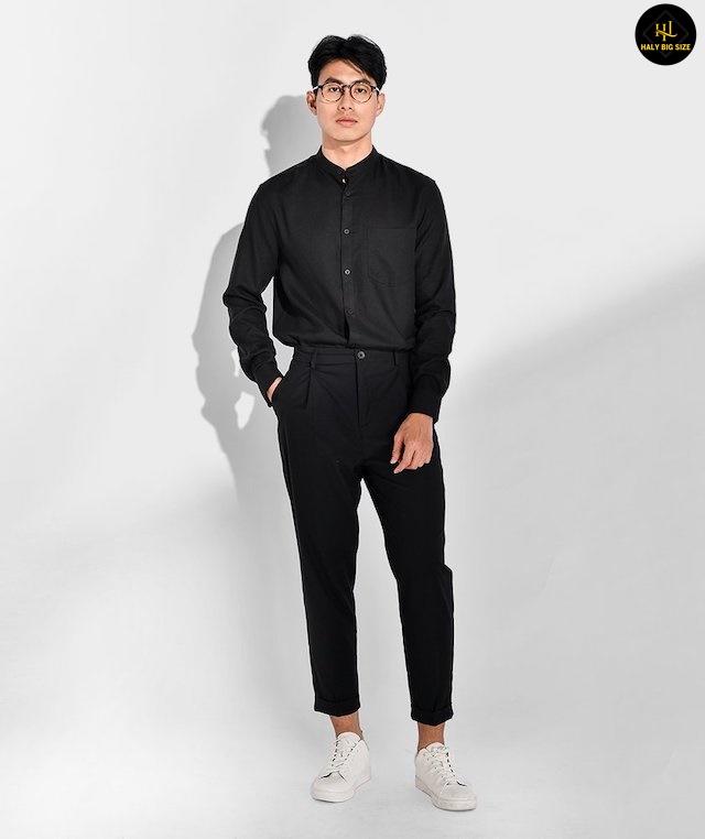 phối quần jean đen với áo sơ mi nam
