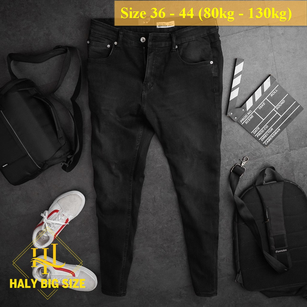 Quần jean nam big size đen bạc h035