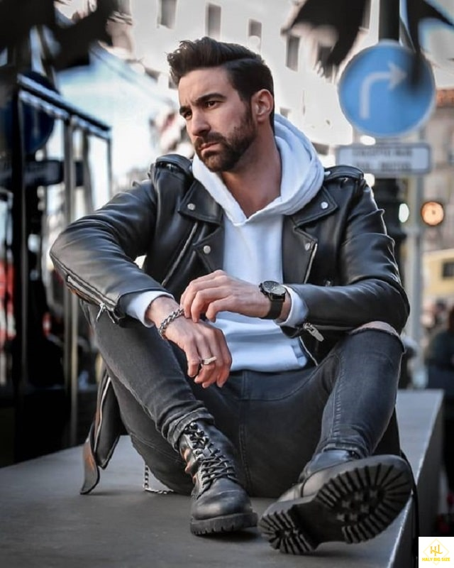 Phối đồ với áo khoác da phong cách đường phố